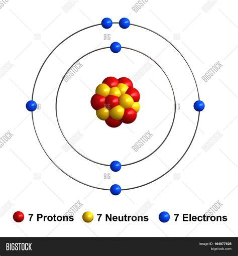 Nitrogen Protons by 3d Render Atom Image Photo Free Trial Bigstock