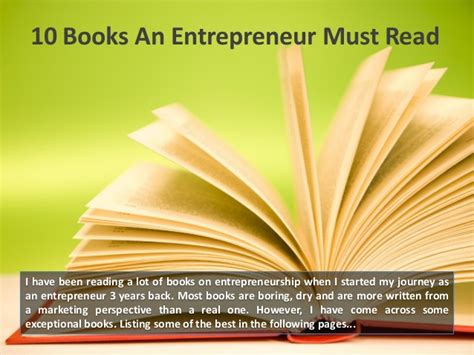 The 10 Entrepreneur 1 10 books an entrepreneur must read