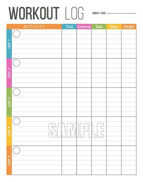 printable exercise planner free workout log exercise log printable for health and