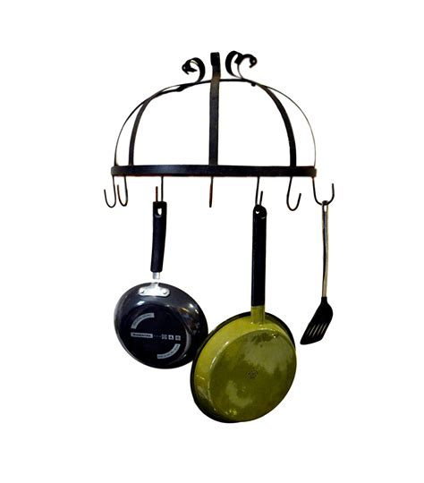 Half Moon Pot Rack vintage half moon pot rack wrought iron wall hanging kitchen