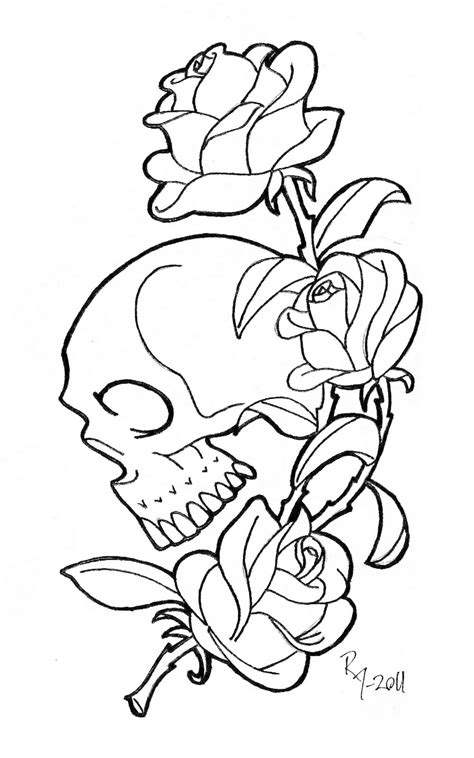 Gothic Skull And Rose Coloring Pages Coloring Pages Skull And Roses Coloring Pages