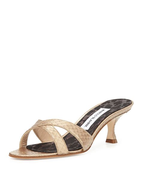 manolo blahnik sandals lyst manolo blahnik callamu watersnake slide sandal in