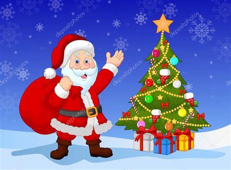 imagenes vectoriales de navidad dibujos animados de pap 225 noel con 225 rbol de navidad