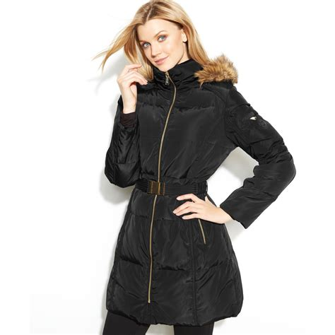 Michael Kors Hooded Faux fur trim Belted Puffer in Black