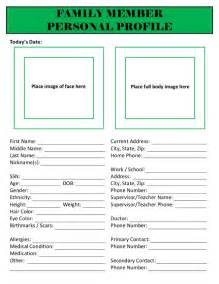 Free Personal Profile Template by Family Member Personal Profile Emergency Binder The Lovebugs
