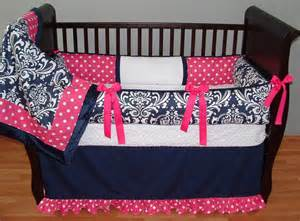 navy and pink crib bedding for navy baby