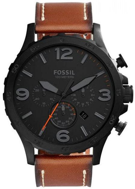 Fossil Nate Chronograph Luggage Leather Set Jr1524 s fossil nate brown leather chronograph jr1524