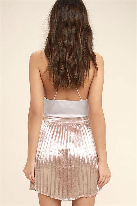 Get Swinging With A Adameve Mini Skirt by Stunning Pink Skirt Satin Skirt Pleated Skirt Mini