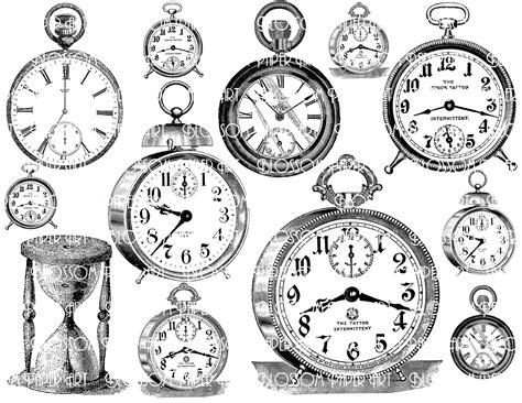 printable paper watches clocks collage sheet digital scrapbook scrapbooking