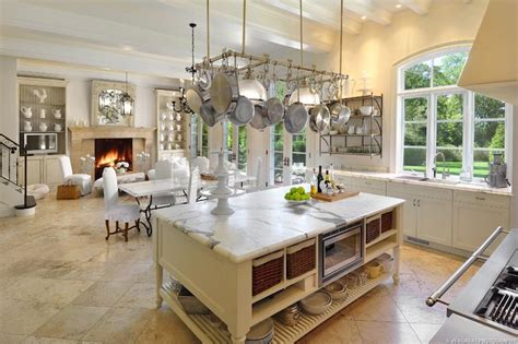 french kitchen island marble top pot rack over dining table design ideas