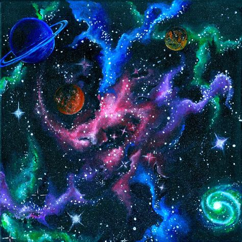 acrylic paint galaxy items similar to acrylic outer space galaxy painting print