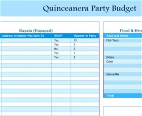 free quinceanera planner printable quinceanera party budget my excel templates