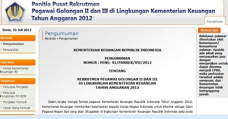 lowongan cpns kementerian keuangan depkeu 2012 surat