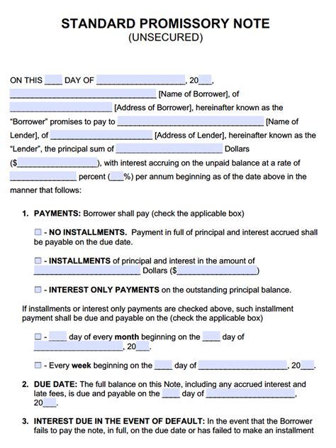 unsecured promissory note template promissory notes