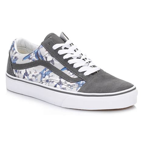 Vans Skool Flower vans womens floral pewter white skool suede trainers