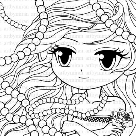 digi st pearl big eyed girl coloring page pretty girl