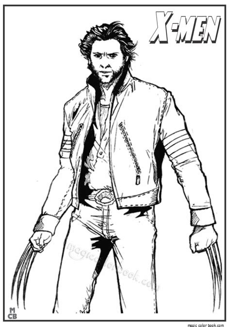 free coloring pages of x men wolverine