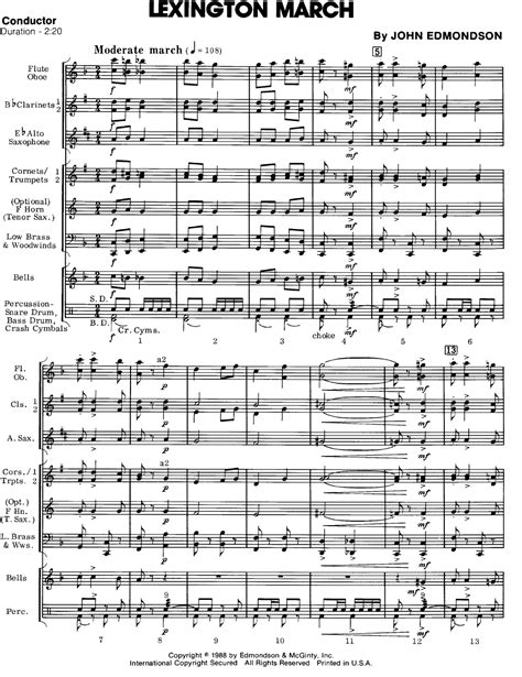 Online Planner Free lexington march by john edmondson j w pepper sheet music
