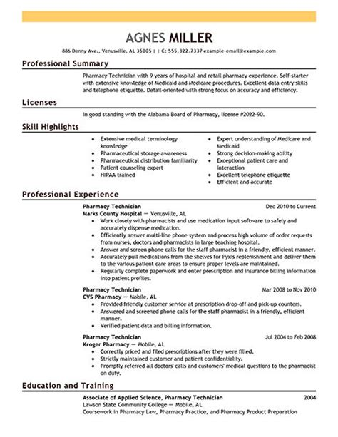 pharmacy technician resume exles sle resumes livecareer work