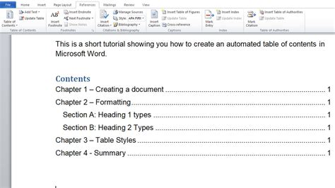create table of contents in word how to automated table of contents in microsoft word