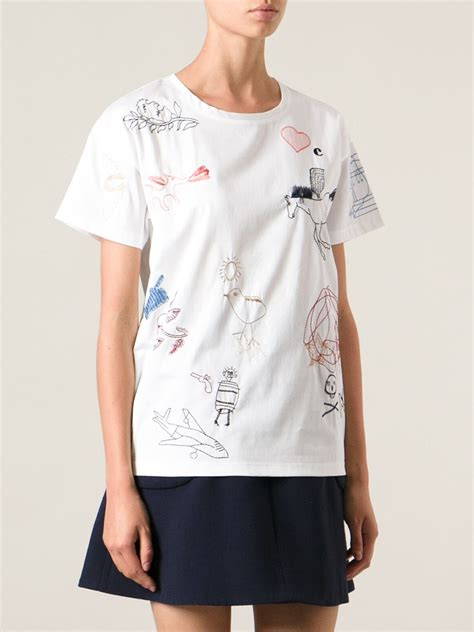 Embroidered T Shirt lyst carven embroidered tshirt in white