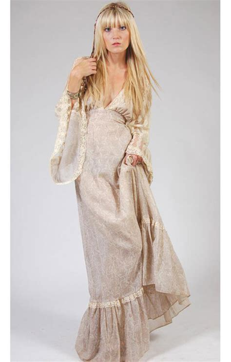 Angel Sleeve Gunne Sax Maxi Dress   Lotus Vintage