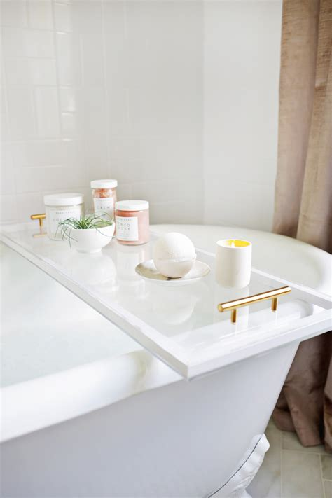 On Bathtub by Lucite Bathtub Caddy Diy A Beautiful Mess