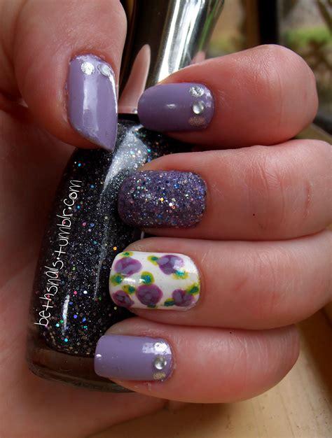 purple flower nails purple flower nail art by besweetxo on deviantart