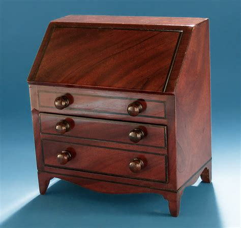 Miniature Desk by George Iii Mahogany Miniature Slant Front Desk M Ford
