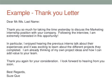 thank you letter after internship experience bryant cover letter