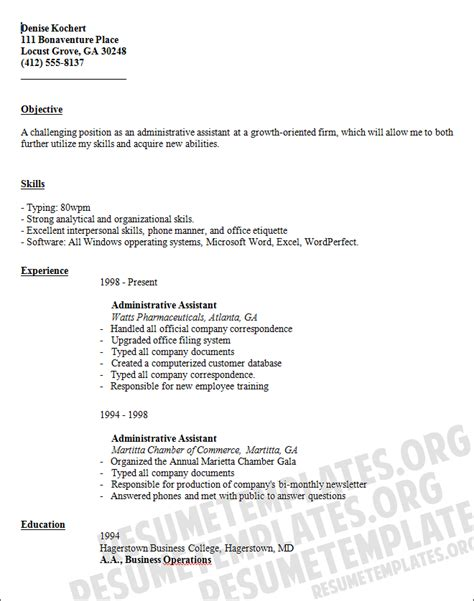 executive assistant templates sle resume november 2014