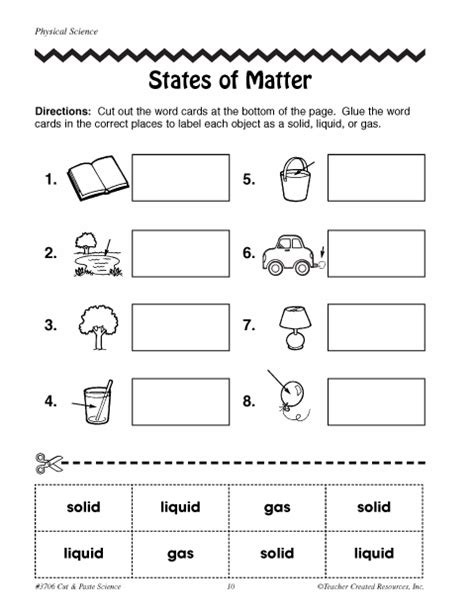 Matter Worksheets by States Of Matter Education World