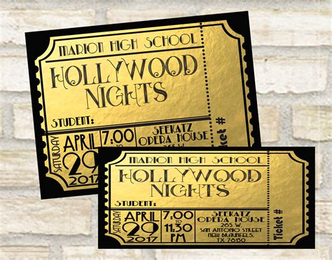prom ticket design for students for a school event school