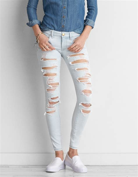Jegging 7 8 Black Ripped 27 30 black ripped american eagle in
