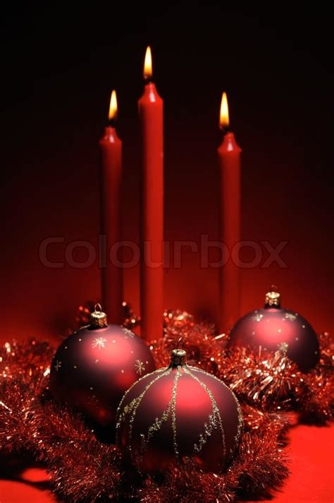 How To Decorate Candles At Home Red Christmas Decoration Theme Three Red Baubles And