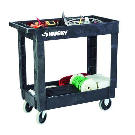 tool carts husky service carts 16 in 2 shelf utility