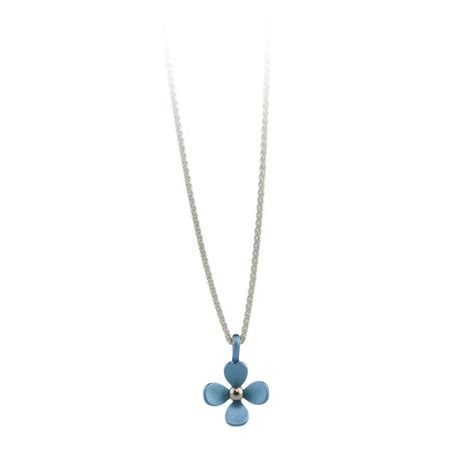 medium four petal flower titanium pendant necklace ti2