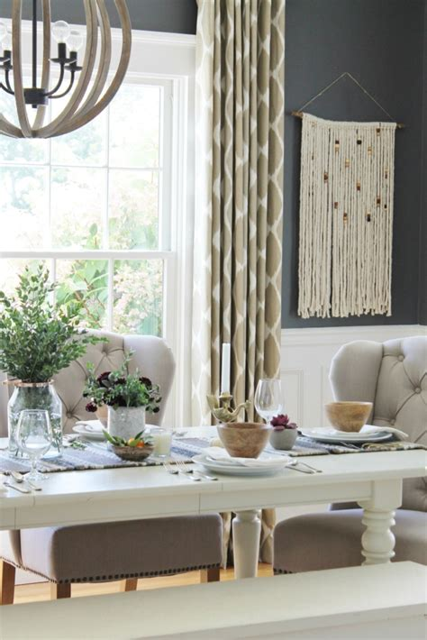 dining room tablescapes rustic modern fall dining room tablescape