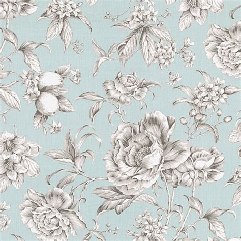 Blue Floral Upholstery Fabric by Light Blue Floral Toile Sateen Fabric Traditional