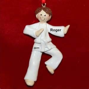 brunette boy karate christmas ornament