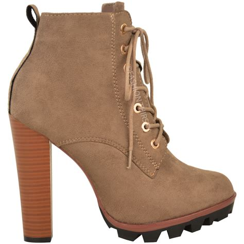 womens high heel combat boots new womens ankle boots lace up block high heel