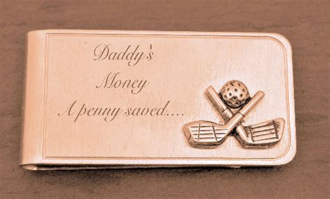 Golf Clubs Brushed Gold Money Clip > Money Clips Engraved