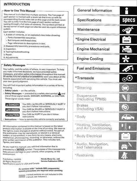 car repair manuals online pdf 2007 honda element interior lighting 2007 2010 honda element repair shop manual original