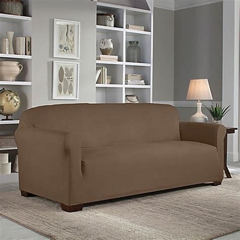 perfect fit sofa covers buy perfect fit 174 reversible sofa slipcover in chocolate