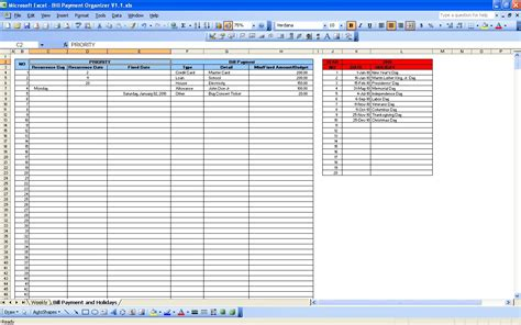 bill payment spreadsheet excel templates unique bills to pay