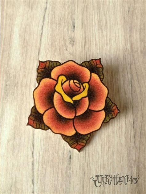 traditional yellow rose tattoo traditional brooch