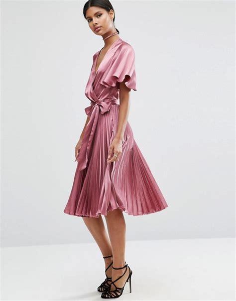 Pleated Bohemian Midi Dress Kinan asos asos pleated wrap midi dress in satin