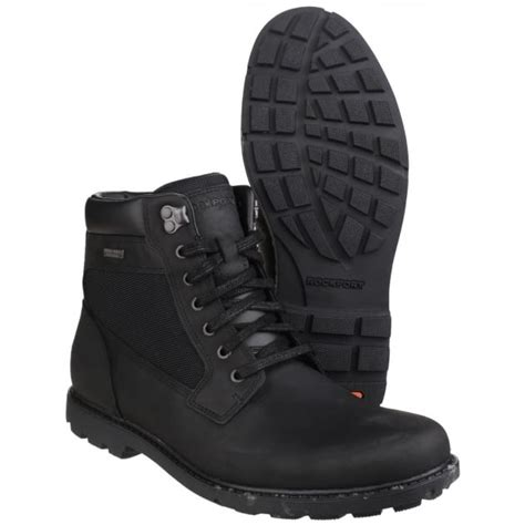 rugged black boots rockport rugged bucks waterproof lace up s black boots free returns at shoes co uk
