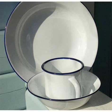 Mug Plate white cing enamel mug plate and bowl set