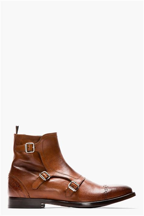 monk boots mcqueen brown leather brogued monk strap boots